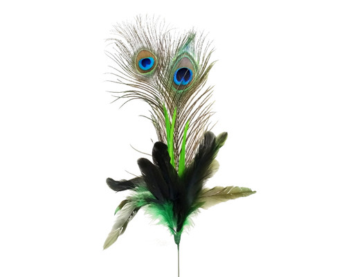 """22""""- 25"""" Apple Green Peacock Feather - Pack of 10 Picks"""