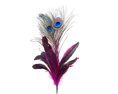 """22""""- 25"""" Fuchsia Peacock Feather - Pack of 10 Picks"""
