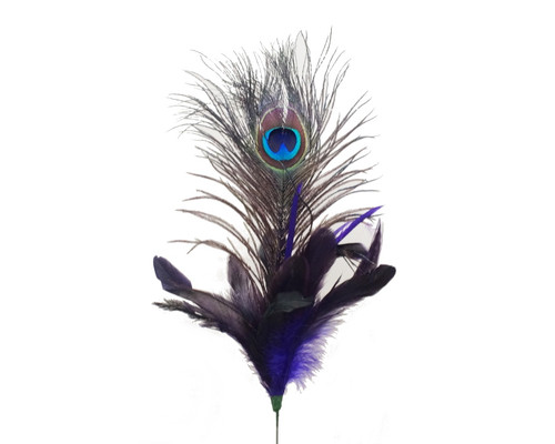 """22""""- 25"""" Purple Peacock Feather - Pack of 10 Picks"""