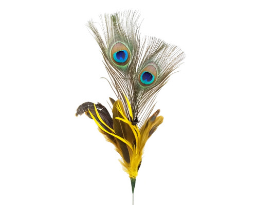 "22""- 25"" Yellow Peacock Feather - Pack of 10 Picks"