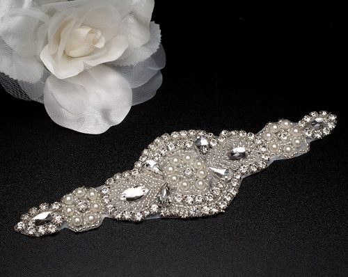 "2.25"" x  7.25"" Silver Rhinestone Iron-On Pearl Applique - 5 Bridal Appliques"