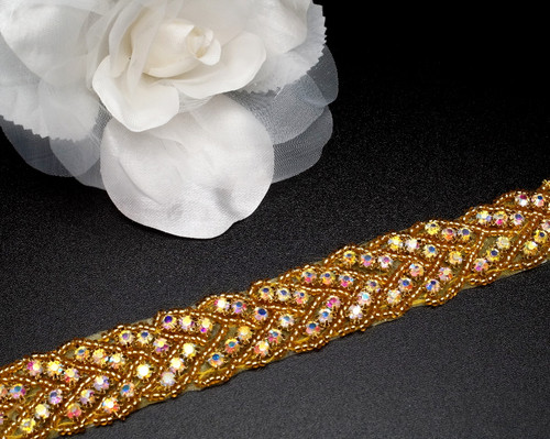 "1""  x 5 Yards AB Gold Bridal Iron-On Rhinestone Wave Trim"