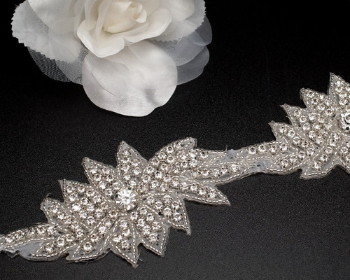 "2.5"" x 5 Yards Silver Bridal Iron-On Rhinestone Trim"