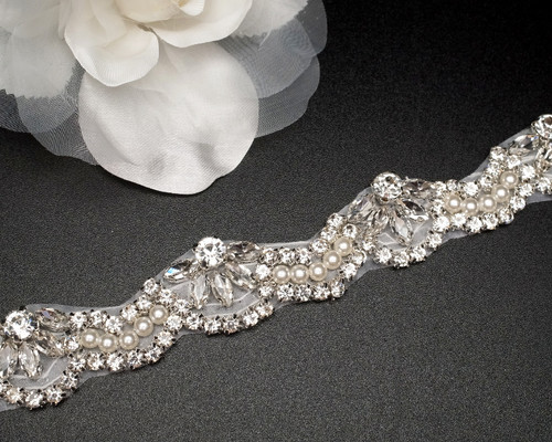"1"" x 4.7 Yards Silver Bridal Iron-On Rhinestone Trim"