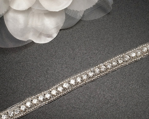 "1/4"" x 5 Yards Silver Iron-On Rhinestone Trim"