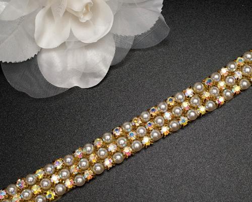 """3/4"""" x 5 Yards AB Gold Crystal Pearl Iron-On Rhinestone Trim"""