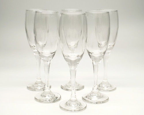 6 oz Clear Glass Champagne Flutes - Pack of 6 Wedding Champagne Glasses