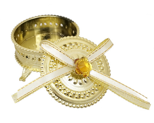 """2.5"""" Gold Round Ribbon Bow Favor Trinket Box  - Pack of 12"""