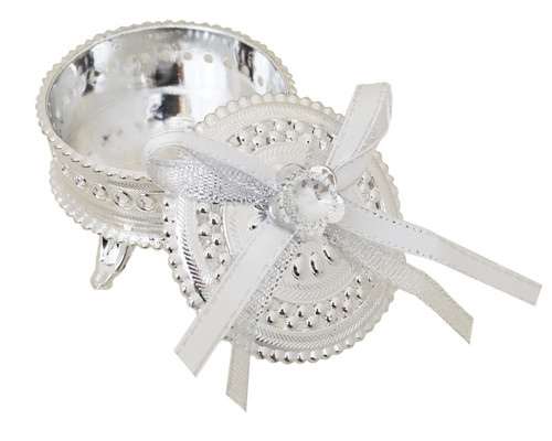 """2.5"""" Silver Round Ribbon Bow Favor Trinket Box  - Pack of 12"""
