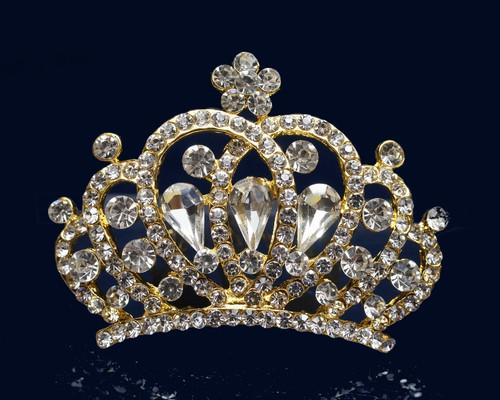 Gold Crystal Rhinestone Mini Tiara - Pack of 12 (TM150)