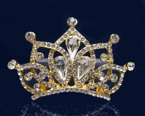 Gold Crystal Rhinestone Mini Tiara - Pack of 12 (TM157)