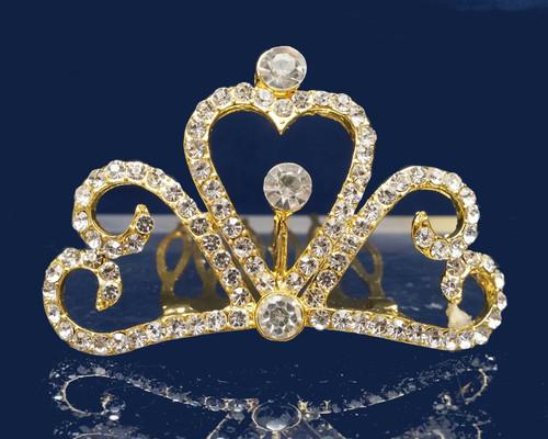 Gold Crystal Rhinestone Mini Tiara - Pack of 12 (TM147)