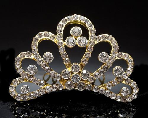 Gold Crystal Rhinestone Mini Tiara - Pack of 12 (TM159)