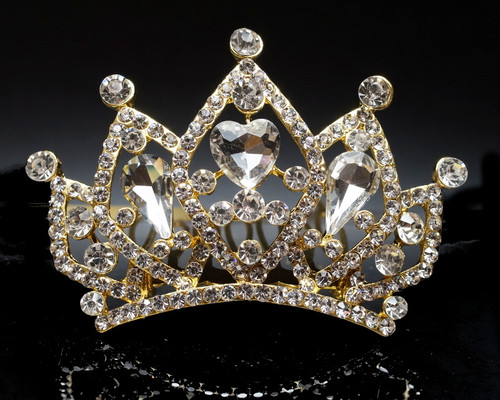 Gold Crystal Rhinestone Mini Tiara - Pack of 12 (TM155)