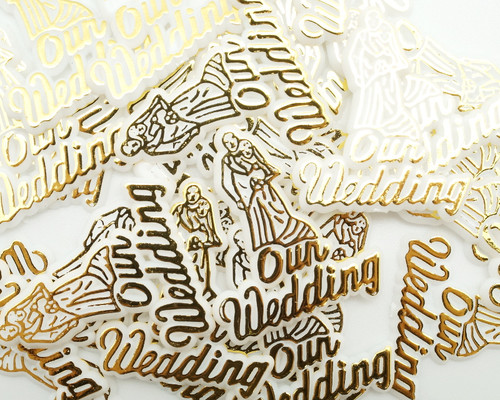 "1.5"" Gold Our Wedding Plastic Charms - Pack of 144 (1 Gross)"