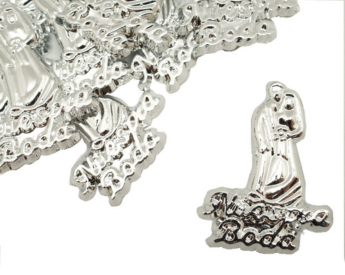 """1.5"""" Silver Nuestra Boda Plastic Charms - Pack of 144 (1 Gross)"""