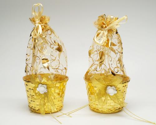"3"" Gold Round Organza Bag Basket Favor Box - Pack of 12"
