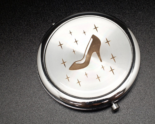 "3"" Gold Cinderella Slipper Compact Mirror - 12 Mis Quince Compact Hand Mirrors"