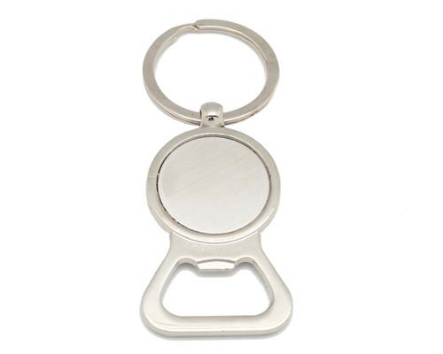 "3 1/4"" Round Plain Silver DIY Bottle Opener Keychain  - Pack of 12"