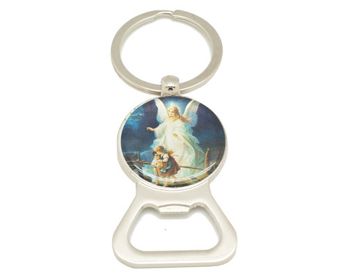 "3 1/4"" Round Guardian Angel Bottle Opener Keychain  - Pack of 12"