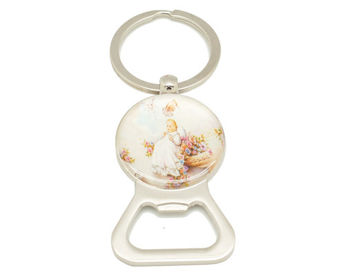 "3 1/4"" Round Baptism Bottle Opener Keychain  - Pack of 12"