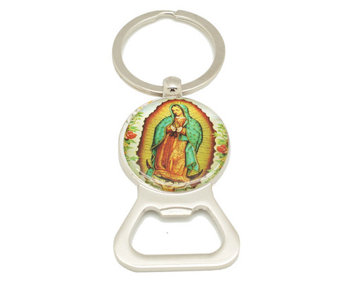 "3 1/4"" Round Guadalupe Bottle Opener Keychain  - Pack of 12"