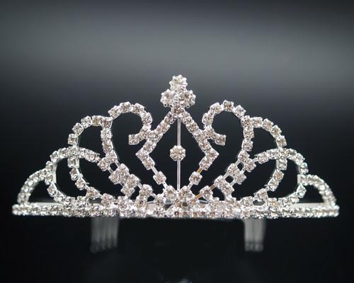 Silver Rhinestone Crystal Tiara Crown (TL025)