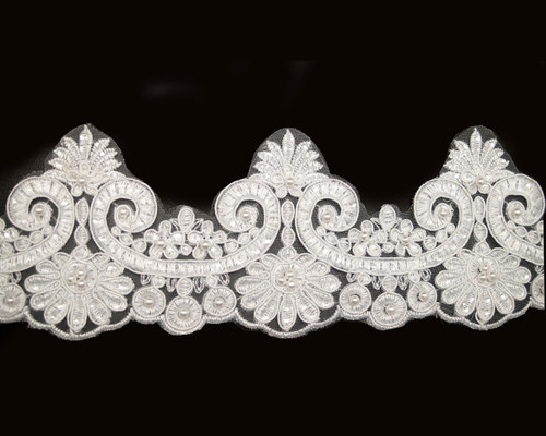 """3 1/4"""" x 15 Yards White Venice Floral Lace Trim with Pearl Beads"""