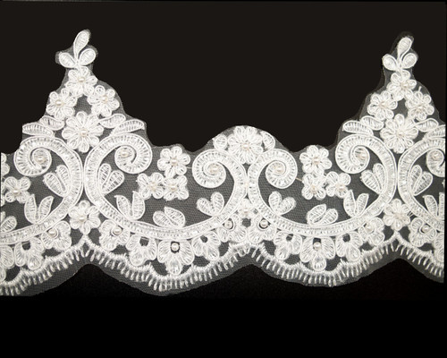"""5"""" x 15 Yards White Venice Floral Lace Trim with Pearl Beads"""