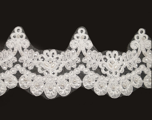 """3 1/2"""" x 15 Yards White Venice Floral Lace Trim with Pearl Beads"""