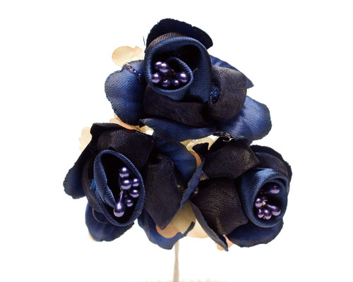 """1 3/4"""" Navy Blue Satin Silk Flowers with Pearl - Pack of 36"""