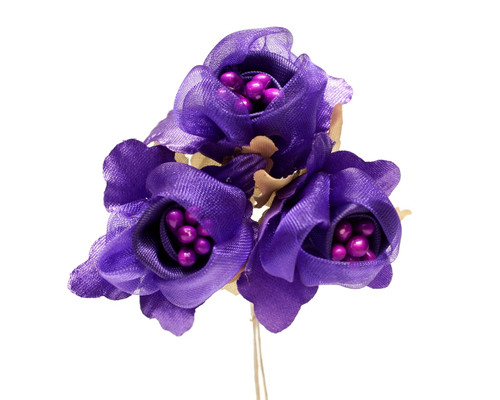 "1 3/4"" Purple Satin Silk Flowers with Pearl - Pack of 36"
