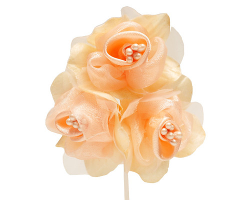 """2"""" Peach Satin Silk Flowers with Pearl - Pack of 36"""
