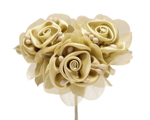 """2"""" Tan Satin Silk Flowers with Leaves - Pack of 36"""