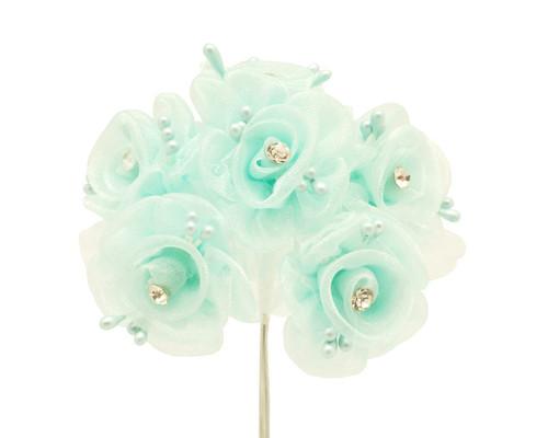 "1.5"" Aqua Organza Flowers with Rhinestone - Pack of 72"