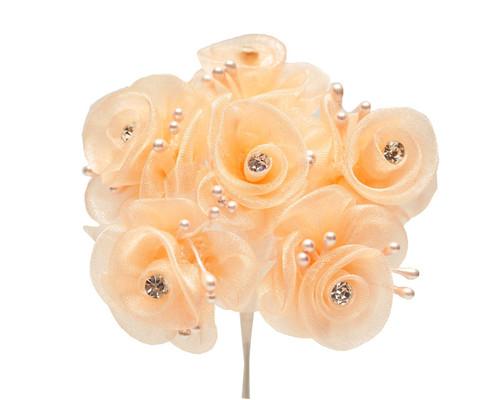 "1.5"" Peach Organza Flowers with Rhinestone - Pack of 72"