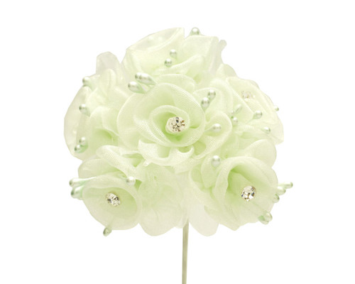 """1.5"""" Mint Organza Flowers with Rhinestone - Pack of 72"""