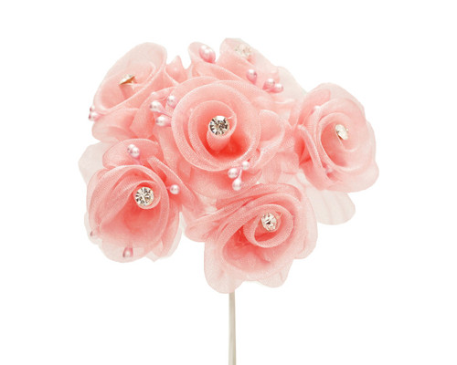 """1.5"""" Mauve Organza Flowers with Rhinestone - Pack of 72"""