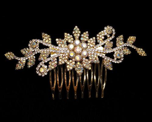 "4.5"" Gold AB Crystal Bridal Hair Comb with Rhinestones"