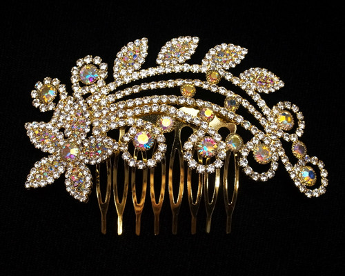 "4.25"" Gold AB Crystal Bridal Hair Comb with Rhinestones"