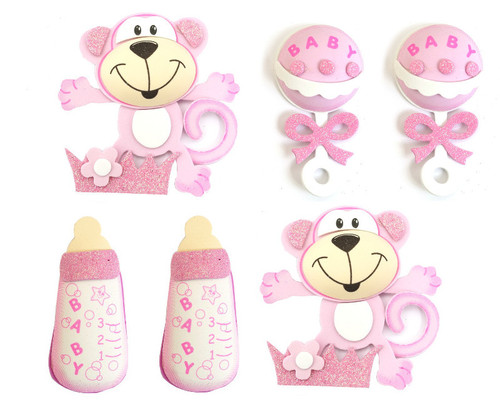 """4"""" Mixed Pink 3D Foam Baby Shower Decoration - Pack of 12"""