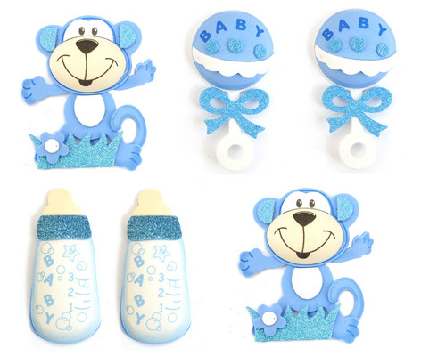 """4"""" Mixed Blue 3D Foam Baby Shower Decoration - Pack of 12"""