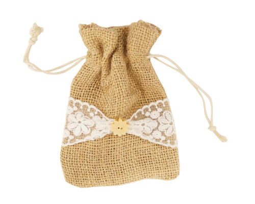 "4"" x  5.5"""" White Lace Burlap Jute Drawstring Closure Favor Bags - Pack of 12"