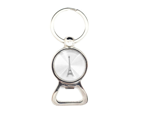 "3 1/4"" Silver Eiffel Tower Bottle Opener Keychain  - Pack of 12"