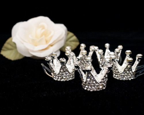 "1/2"" Silver Royal Mini Full Size Crown with Comb - Pack of 12"