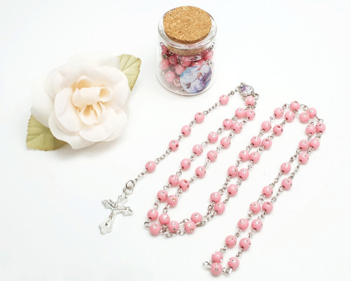 "1.5"" Pink Cork Glass Bottle Rosary Favor - Pack of 8 Baptism Favors"