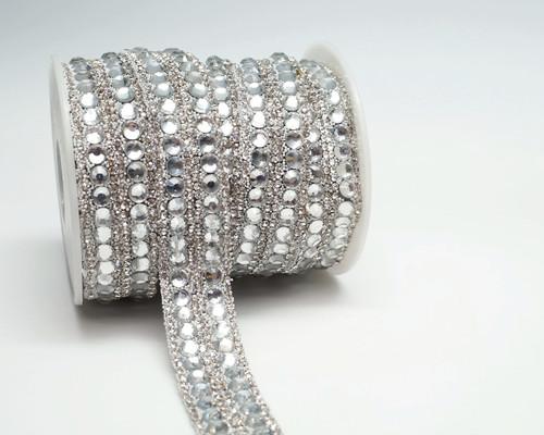 """3/4"""" x 5 Yards Silver Crystal Cluster Iron-On Rhinestone Trim"""