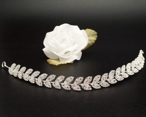 """11"""" Silver Floral Rhinestone Leaf Bridal Hair Band"""