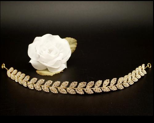 """11"""" Gold Floral Rhinestone Leaf Bridal Hair Band"""