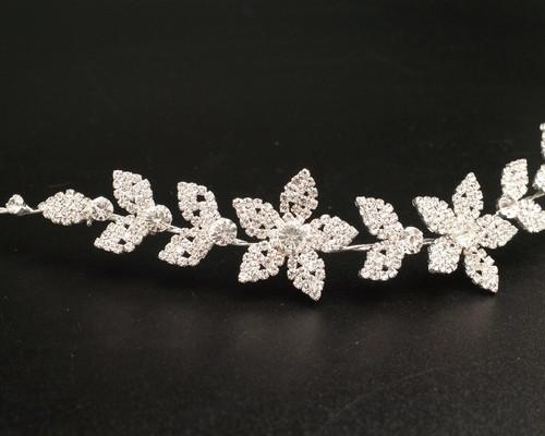 "11"" Silver Floral Rhinestone Bridal Hair Band"